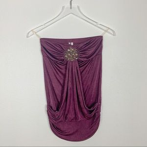 Strapless embellished beaded purple top